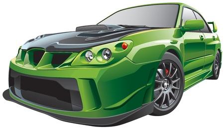 Detail vector afbeelding van groene aangepaste auto, geïsoleerd op een witte achtergrond. Bestand bevat verlopen en transparantie. Geen blends en beroertes. Eenvoudig bewerken: bestand is onderverdeeld in logische lagen en groepen.