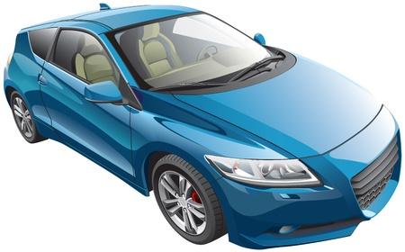 青の近代的なスポーツ車、白い背景で隔離の詳細ベクトル画像。ファイルには、グラデーションと透明度が含まれます。いいえブレンドとストロー