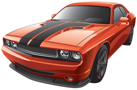 Detail vector image of modern muscle car, isolated on white background. File contains gradients. No blends and strokes. Easily edit: file is divided into logical layers and groups. Illustration