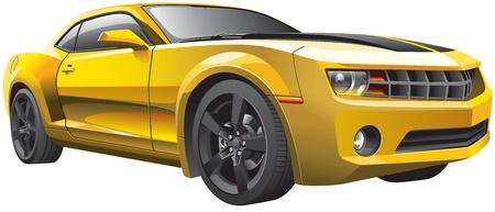 Detail vector afbeelding van moderne muscle car, geïsoleerd op een witte achtergrond. Bestand bevat verlopen en transparantie. Geen blends en beroertes. Eenvoudig bewerken: bestand is onderverdeeld in logische lagen en groepen.