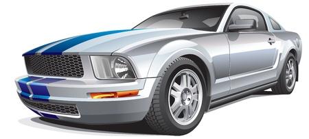 Detail vector afbeelding van moderne muscle car, geïsoleerd op een witte achtergrond. Bestand bevat gradiënten. Geen blends en beroertes. Eenvoudig bewerken: bestand is onderverdeeld in logische lagen en groepen.