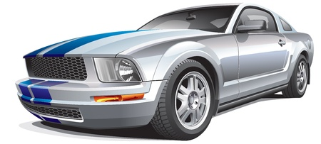 Detail vector image of modern muscle car, isolated on white background. File contains gradients. No blends and strokes. Easily edit: file is divided into logical layers and groups. Vector