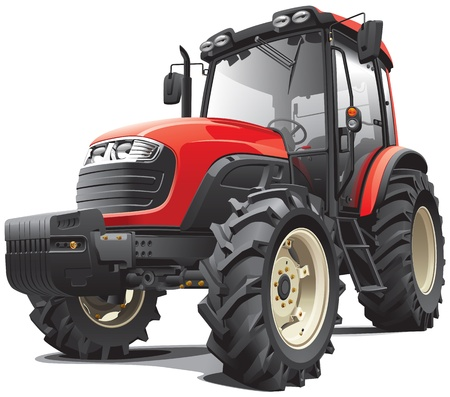 agronomics: Detail vector image of modern red tractor, isolated on white background. File contains gradients and transparency. No blends and strokes. Easily edit: file is divided into logical layers and groups.
