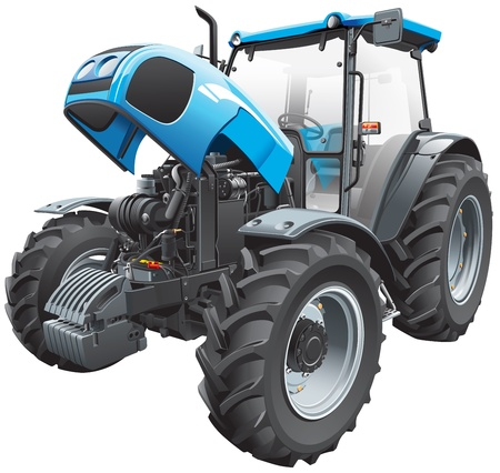 Detail vector image of modern blue tractor with open hood, isolated on white background. File contains gradients and transparency. No blends and strokes. Easily edit: file is divided into logical layers and groups. Vector