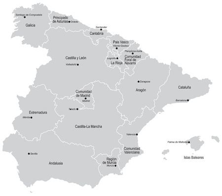 geographical locations: Vectorial map of Spain with all provinces and cities. No gradients and blends. Every province is separate curve. Names of provinces and cities are in separate layers. Provinces and Citiea named on Spanish. Illustration