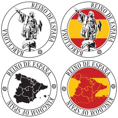 barcelona spain: Vectorial set of postal stamp on theme of Spain, executed in Italian National color. No blends and gradients. Illustration