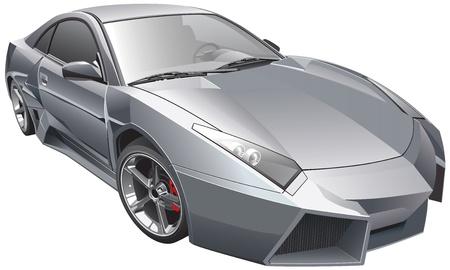 op maat: Detail vector afbeelding van futuristische aangepaste auto, geïsoleerd op een witte achtergrond. Bestand bevat verlopen en transparantie. Geen blends en beroertes. Eenvoudig bewerken: bestand is onderverdeeld in logische lagen en groepen. Stock Illustratie