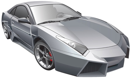 geteilt: Detail Vektor-Bild des futuristischen custom car, isoliert auf wei�em Hintergrund. Die Datei enth�lt Gradienten und Transparenz. Keine Mischungen und Schlaganf�lle. Einfaches Bearbeiten: Datei wird in logische Schichten und Gruppen eingeteilt. Illustration