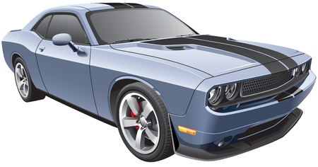 Detail image of modern muscle car Illustration