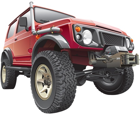 offroad: Detailed red rally with truck-body hoist