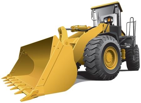 yellow tractor: Imagen detallada vectorial de color marr�n claro cargador grande, aislado en fondo blanco. Contiene gradientes. F�cilmente editar: archivo est� dividido en capas l�gicas y grupos.