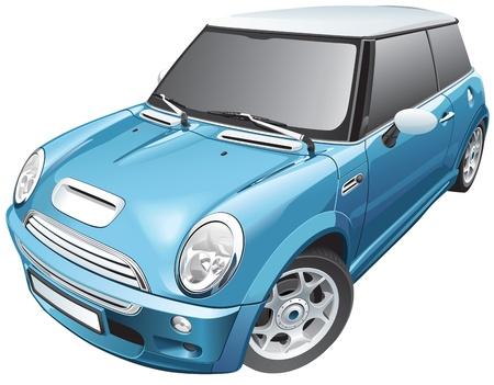 ヨーロッパの青いコンパクト車の詳細画像