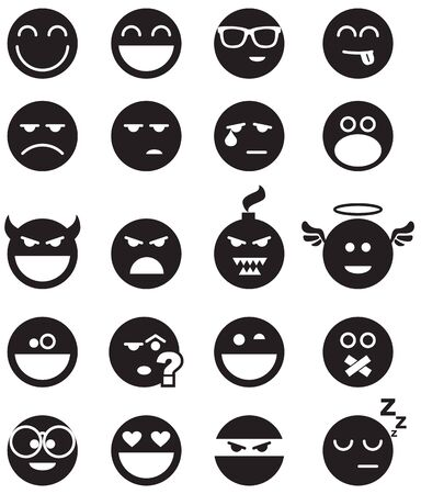 unkind: Vector basic set of simple smiles. No blends, gradients and strokes.  Illustration