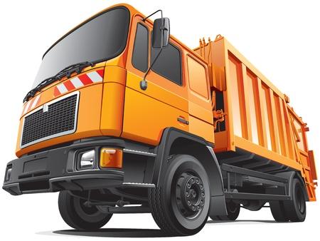 オレンジ色のゴミ収集車 - 後部積込み機、白い背景で隔離の詳細説明画像。ファイルには、グラデーションと透明度が含まれます。いいえブレンド