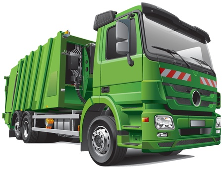 Detail image of modern garbage truck - rear loader, isolated on white background. File contains gradients and transparency. No blends and strokes.  Stock Vector - 18034034