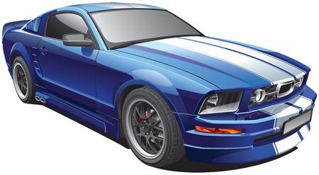 Detail beeld van blauwe moderne pony auto met witte race strepen, geïsoleerd op een witte achtergrond. Bestand bevat gradiënten. Geen blends en beroertes.