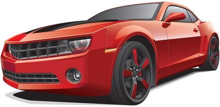 Detail afbeelding van rode moderne pony car met zwarte racing stripes, geïsoleerd op een witte achtergrond. Bestand bevat gradiënten. Geen blends en beroertes.