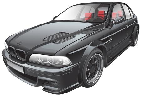 Gedetailleerd beeld van de zwarte aangepaste auto, geïsoleerd op een witte achtergrond. Bestand bevat verlopen. Geen blends en beroertes.