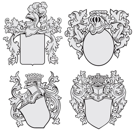 crests:  image of four medieval coats of arms, executed in woodcut style, isolated on white background. No blends, gradients and strokes.
