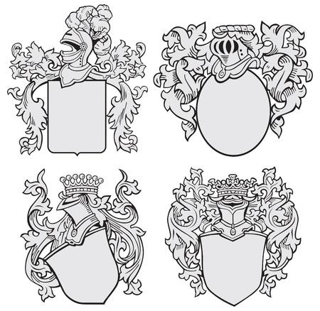 crests: immagine di quattro strati medievali di armi, eseguiti in stile di incisione su legno, isolato su sfondo bianco. Nessun miscele, gradienti e ictus.