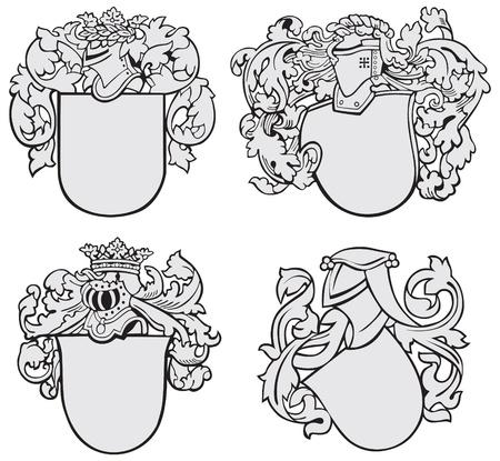blasone: immagine di quattro strati medievali di armi, eseguiti in stile di incisione su legno, isolato su sfondo bianco. Nessun miscele, gradienti e ictus.