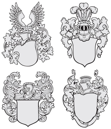 image of four medieval coats of arms, executed in woodcut style, isolated on white background. No blends, gradients and strokes.