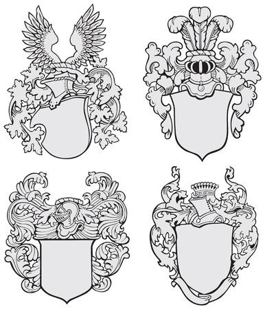 beeld van vier middeleeuwse wapenschilden, uitgevoerd in houtsnede stijl, geïsoleerd op een witte achtergrond. Geen blends, gradiënten en beroertes.