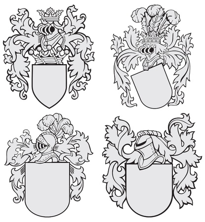 image of four medieval coats of arms, executed in woodcut style, isolated on white background. No blends, gradients and strokes. Vector