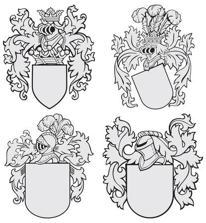 escudo de armas: imagen de cuatro escudos medievales, hechos en estilo del grabar en madera, aislados en fondo blanco. Sin mezclas, degradados y trazos.