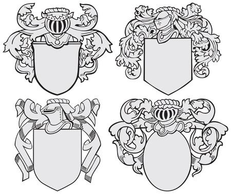 beeld van vier middeleeuwse wapenschilden, uitgevoerd in houtsnede stijl, geïsoleerd op een witte achtergrond. Geen blends, gradiënten en beroertes. Stock Illustratie