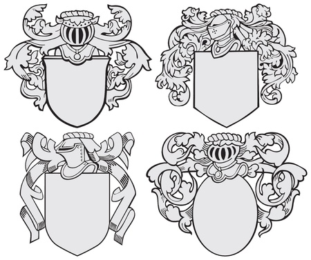 mantle:  image of four medieval coats of arms, executed in woodcut style, isolated on white background. No blends, gradients and strokes.