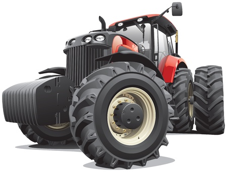 Detail image of large modern red tractor, isolated on white background. File contains gradients and transparency. No blends and strokes.  Vector