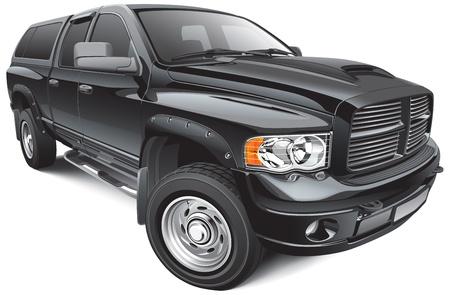 Detail vector afbeelding van zwarte grote pick-up, geïsoleerd op een witte achtergrond. Geen slagen.