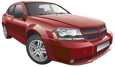 Detail vector afbeelding van Amerikaanse mid-size auto, geïsoleerd op een witte achtergrond. Bestand bevat verlopen en transparantie. Geen blends en beroertes. Eenvoudig bewerken: bestand is onderverdeeld in logische lagen en groepen.