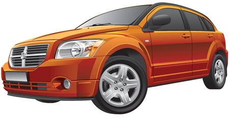no image: Detail vector image of American compact car, isolated on white background. File contains gradients and transparency. No blends and strokes.  Illustration