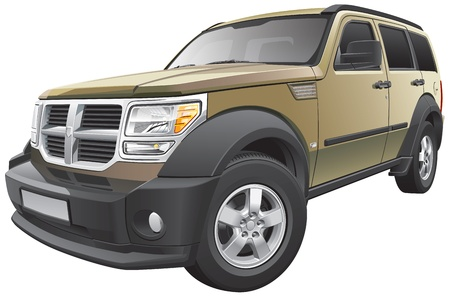 crossover: Detail vector image of American sport utility vehicle, isolated on white background. File contains gradients and transparency. No blends and strokes.  Illustration