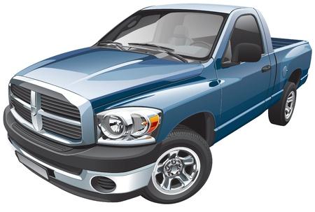 Detail vector afbeelding van blauwe full-size pick-up, geïsoleerd op een witte achtergrond.