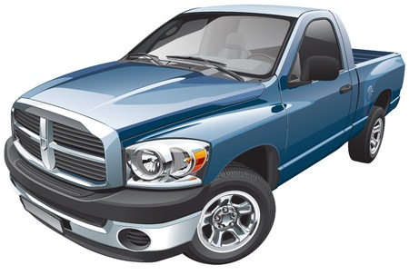 Detail vector image of blue full-size pickup, isolated on white background.  Vector