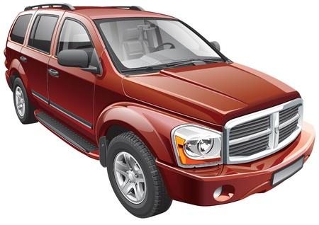 Detail vector afbeelding van Amerikaanse full-size SUV, geïsoleerd op een witte achtergrond. Stock Illustratie