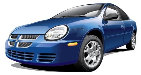 Detail vector afbeelding van Amerikaanse compacte sedan, geïsoleerd op een witte achtergrond.