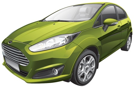 Detail vector image of American subcompact sports hatchback, isolated on white background.  Vector