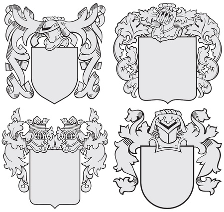 coronal: Vector image of four medieval coats of arms, executed in woodcut style, isolated on white background. No blends, gradients and strokes. Illustration