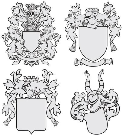 Vector beeld van de vier middeleeuwse wapenschilden, uitgevoerd in houtsnede stijl, geïsoleerd op een witte achtergrond. Geen blends, gradiënten en beroertes.