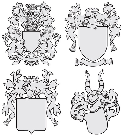 Vector image of four medieval coats of arms, executed in woodcut style, isolated on white background. No blends, gradients and strokes. Illustration