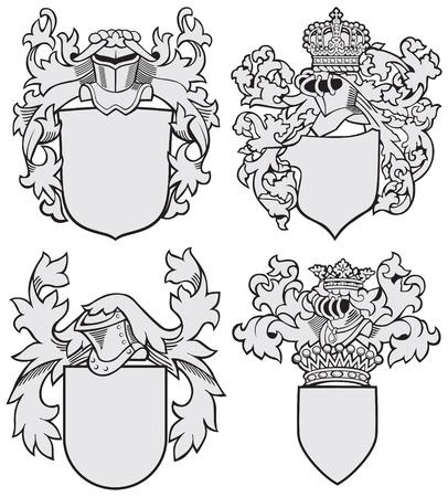 hanedan arması: Beyaz zemin üzerine izole gravür tarzında yürütülen silah dört ortaçağ kat, Vektör görüntü. Hiçbir karışımları, degrade ve vuruş.
