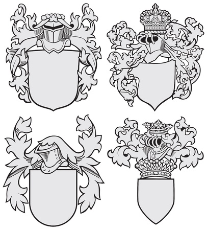Vector image of four medieval coats of arms, executed in woodcut style, isolated on white background. No blends, gradients and strokes. Ilustração