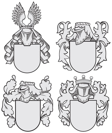Vector image of four medieval coats of arms, executed in woodcut style, isolated on white background. No blends, gradients and strokes. Vector