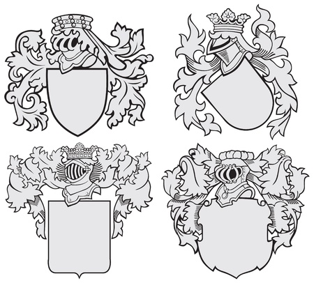chivalrous: Vector image of four medieval coats of arms, executed in woodcut style, isolated on white background. No blends, gradients and strokes. Illustration