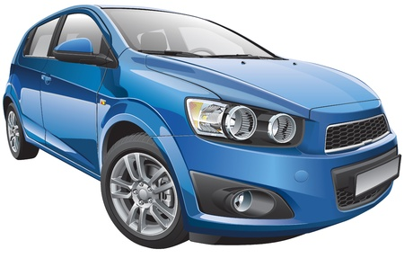 compact: Detail vector image of Korean subcompact sports hatchback