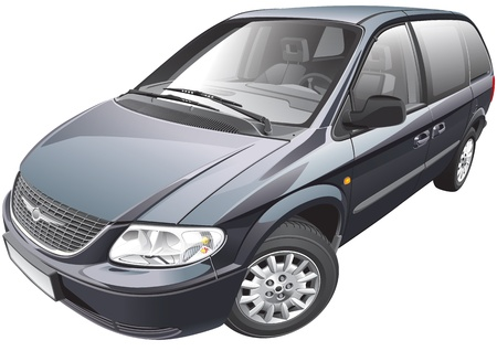 Detail vector afbeelding van Amerikaanse minivan Stock Illustratie